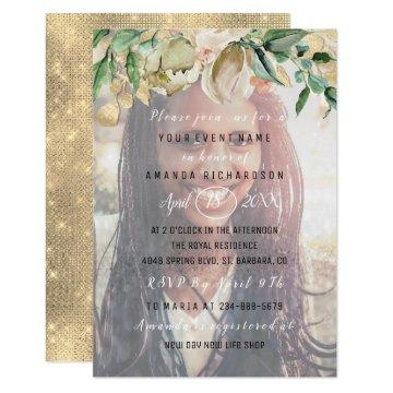 16th Birthday Party Photo  Flowers Gold Graduate Invitation