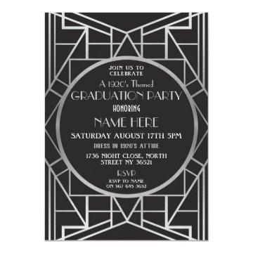 1920 Art Deco Great Graduation Party Gatsby Invite