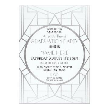 1920's Art Deco Graduation Party Gatsby 20s Invite