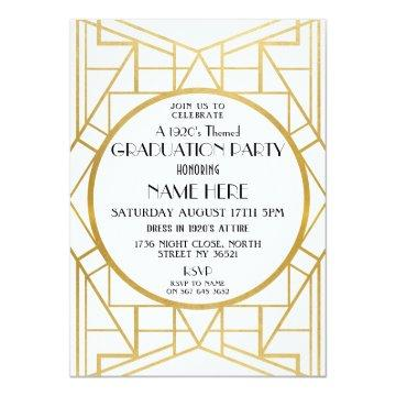 1920s Art Deco Graduation Party Gatsby Gold Invite