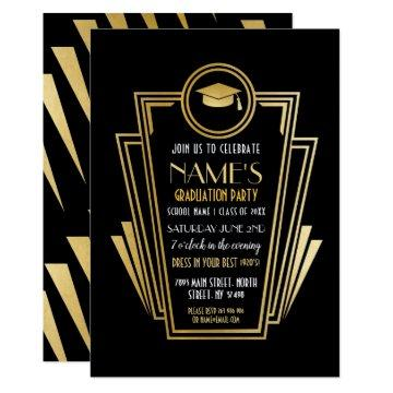 1920s Art Deco Graduation Party Gold Invite Gatsby