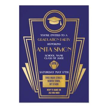 1920s Art Deco Graduation Party Invite Gatsby Gold