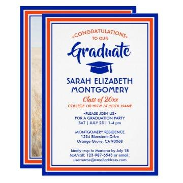 1 Photo Orange and Blue Modern Elegant Graduation Invitation