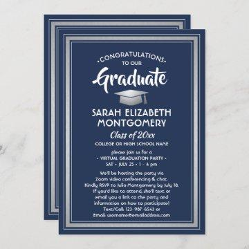 1 Photo Virtual Graduation Navy Blue White Silver Invitation