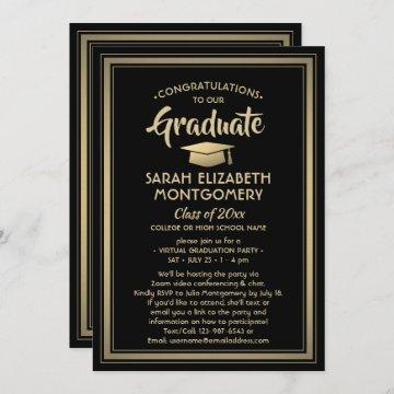 1 Photo Virtual Graduation Party Black and Gold Invitation
