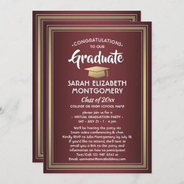 1 Photo Virtual Graduation Party Burgundy and Gold Invitation