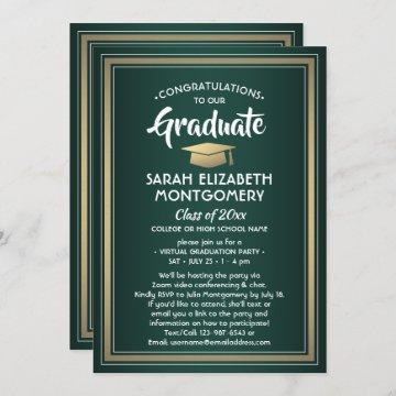 1 Photo Virtual Graduation Party Green Gold White Invitation
