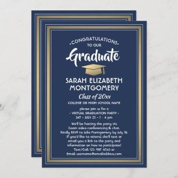 1 Photo Virtual Graduation Party Navy Blue & Gold Invitation