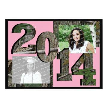 2014 Tree Camo Grad Twin Photo Pink Card