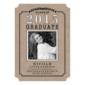 2015 Graduate Photo Brown Party Invite - For Her