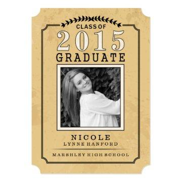2015 Graduate Photo Tan Party Invite - For Her