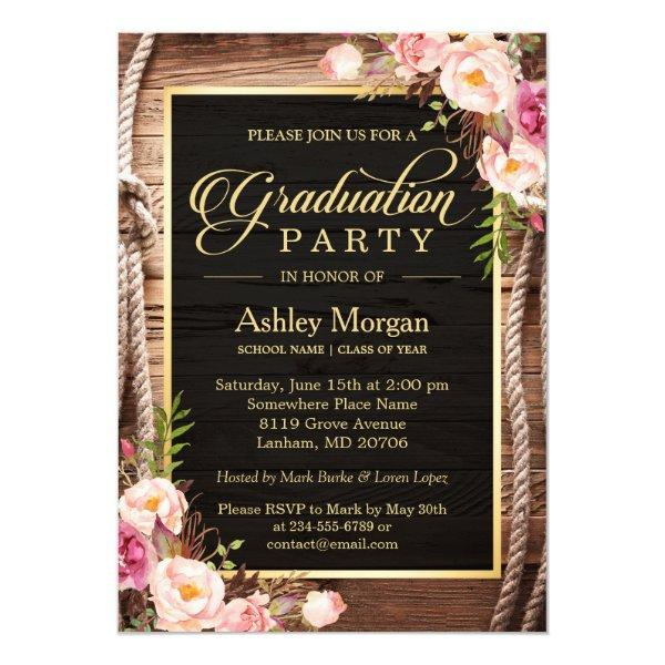 2016 Graduation Party Floral Rustic Country Wooden Card