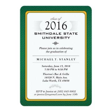 2016 Green & Gold Formal Graduation Party Invite