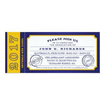 2017 Blue Gold Ticket Graduation Party Invitations