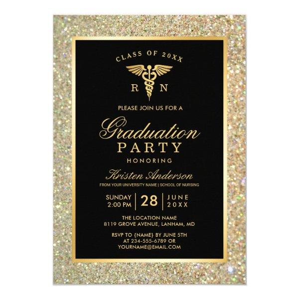 2017 Gold Medical Nursing School Graduation Party Card