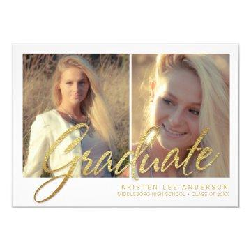 2017 Graduation Faux Gold Foil Photo Announcement