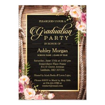 2017 Graduation Party Floral Rustic Country Wooden Card