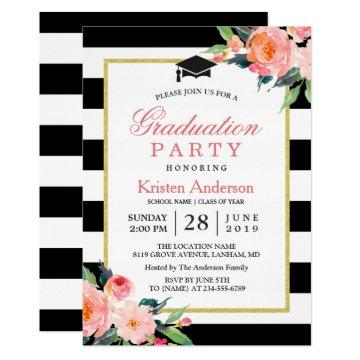 2017 Graduation Party Modern Floral Black Stripes Card