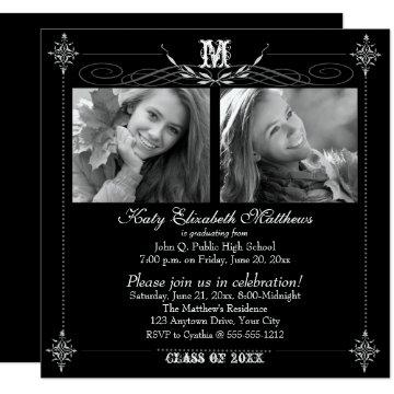 2018 Elegant Two Photo Monogram Graduation Card