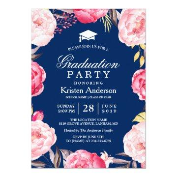 2018 Grad Floral Wreath Navy Blue Graduation Party Card