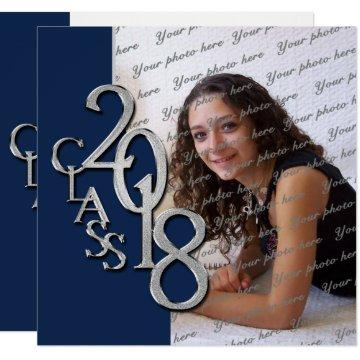 2018 Graduation Navy Blue and Silver Invitation