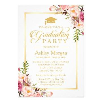 2018 Graduation Party Chic Floral Golden Frame Invitation