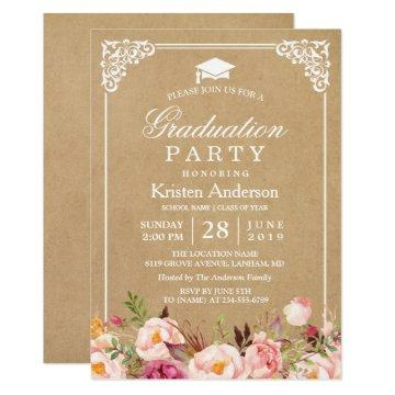 2018 Graduation Party | Rustic Floral Frame Kraft Invitation
