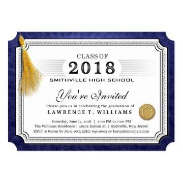 2018 Navy Blue Diploma Gold Tassel Graduation
