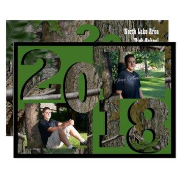 2018 Tree Camo Graduation Twin Photo Hunter Green Invitation