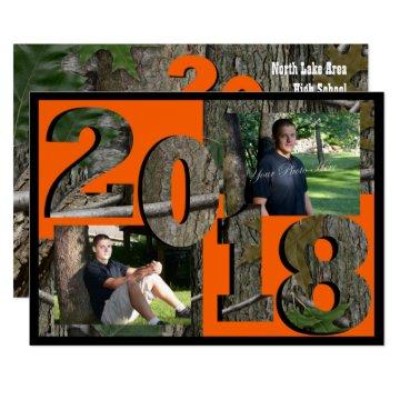 2018 Tree Camo Graduation Twin Photo Invitation