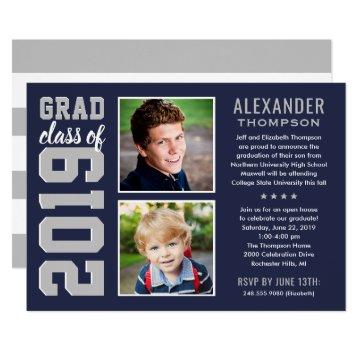 2019 Graduate | Navy Blue Graduation Party Photo Invitation
