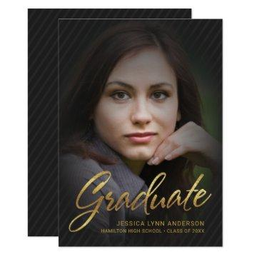 2019 Graduation Faux Gold Foil Text Photo Overlay Invitation