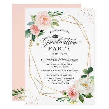 2019 Graduation Party Girly Blush Pink Floral Invitation