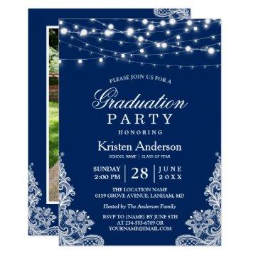 2019 Graduation Party String Lights Lace Navy Blue Invitation