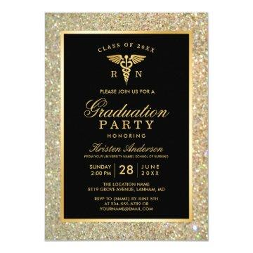 2020 Gold Medical Nursing School Graduation Party Invitation