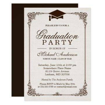 2020 Graduation Party Elegant Frame Ivory Linen Invitation
