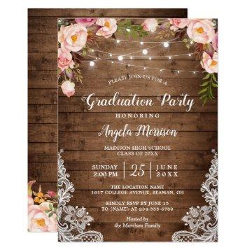 2020 Graduation Party Rustic Floral String Lights Invitation