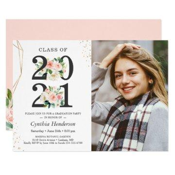 2021 Grad Photo Girly Blush Pink Floral Graduation Invitation