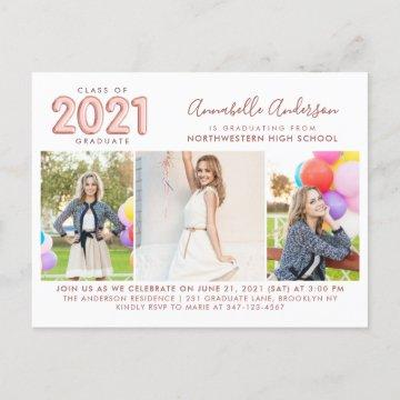 2021 Graduate Rose Gold 3 Photo Graduation Party Invitation Postcard