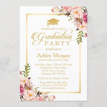 2021 Graduation Party Chic Floral Golden Frame Invitation