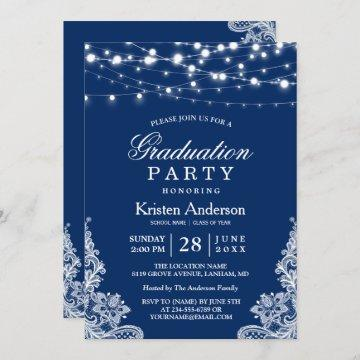 2021 Graduation Party String Lights Lace Navy Blue Invitation