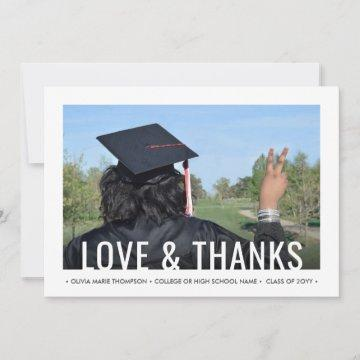 2 Photo Love & Thanks Graduate Picture Graduation Thank You Card
