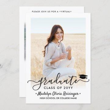 2 Photo Virtual Graduation Party Elegant Script Invitation