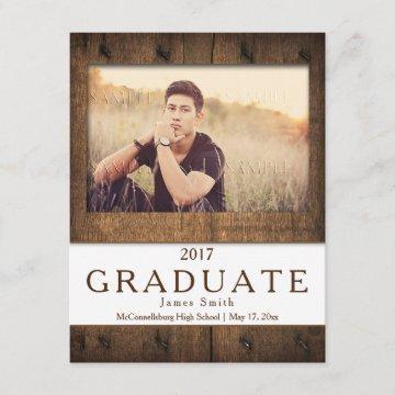#2 Rustic Barn Wood Photo Graduation Announcement