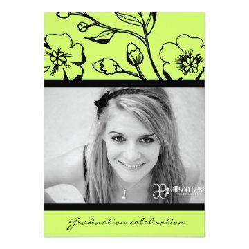 311-Graduation Lush Black & Lime Invitation