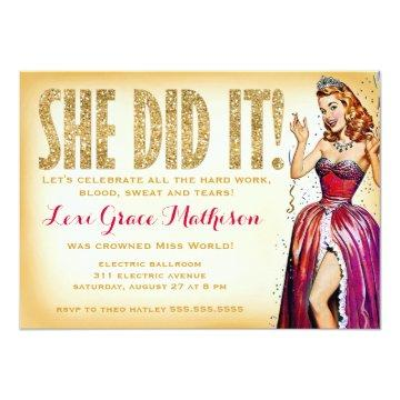 311 She Did It Pin Up Girl Sparkle Invitation
