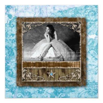 332 Quinceanera Vintage Photo Card Star Blue