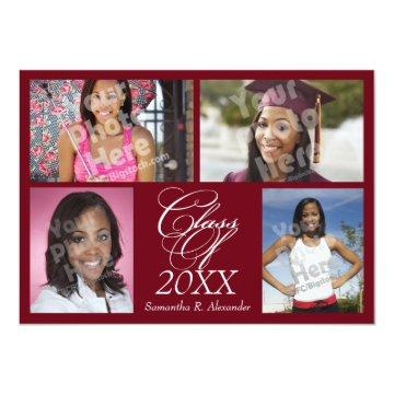4-Photo Collage Burgundy Graduation/Party Card