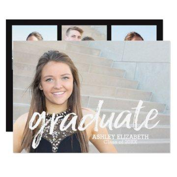 4 Photo Trendy Graduation Announcement