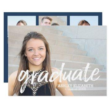 4 Photo Trendy Script Graduation Announcement